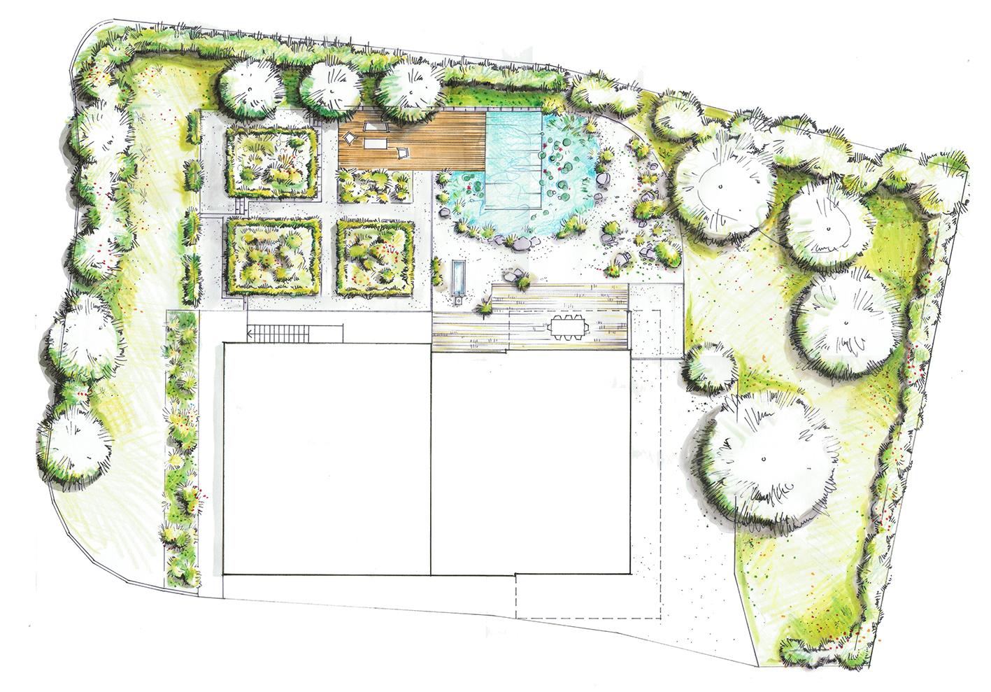 Grundriss - Bauerngarten mit Schwimmteich