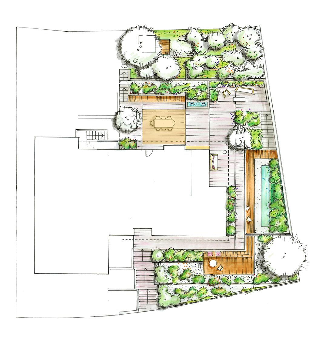 Grundriss Visualisierung von Terrassengarten