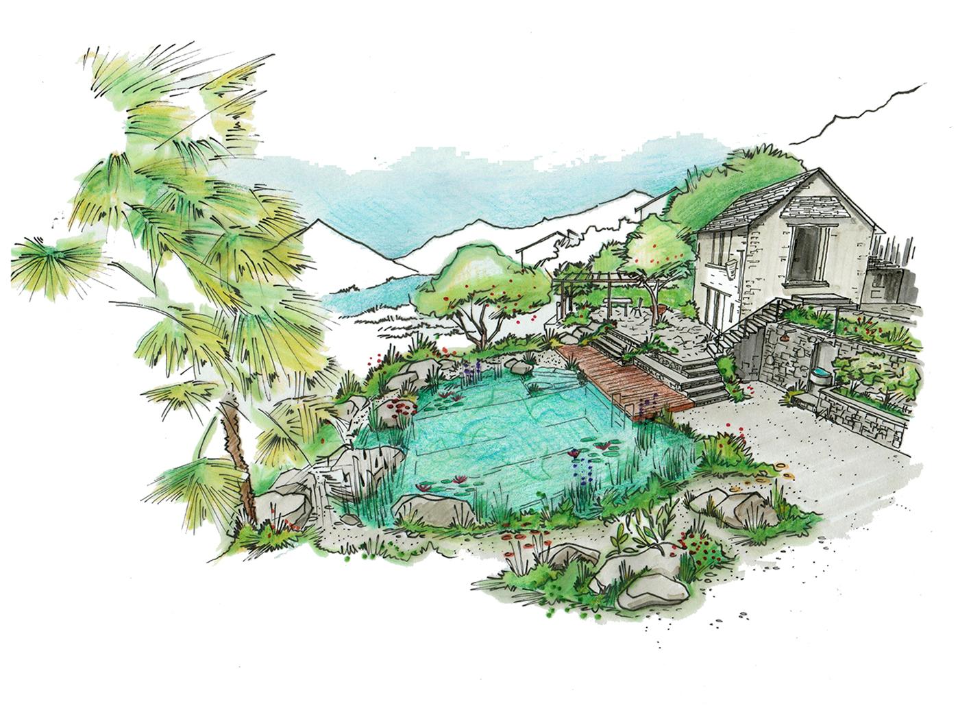 Visualisierung mediterraner Garten mit Schwimmteich und Rustico im Tessin